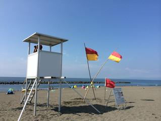 平塚ビーチ、サメの目撃情報により遊泳禁止でした