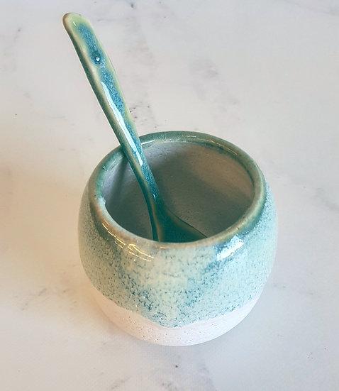 Glossy Seagreen/Blush Sugar Bowl & Spoon