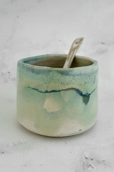 Seafoam Sugar Bowl & Spoon