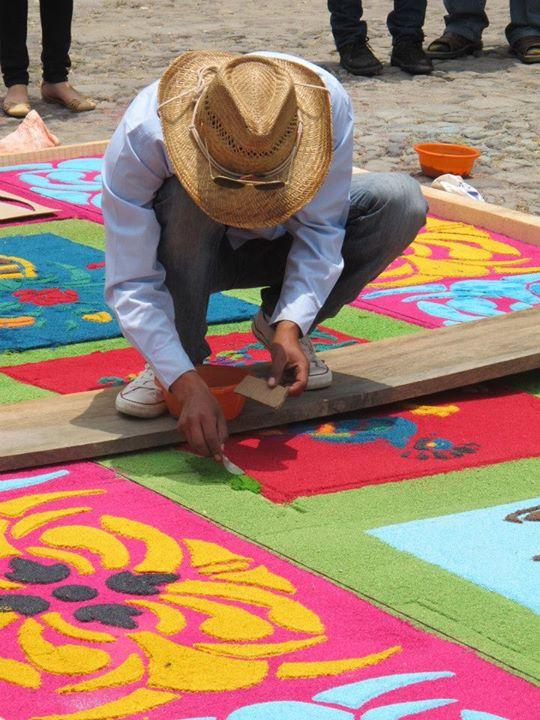 Capet making Antigua Guatemala