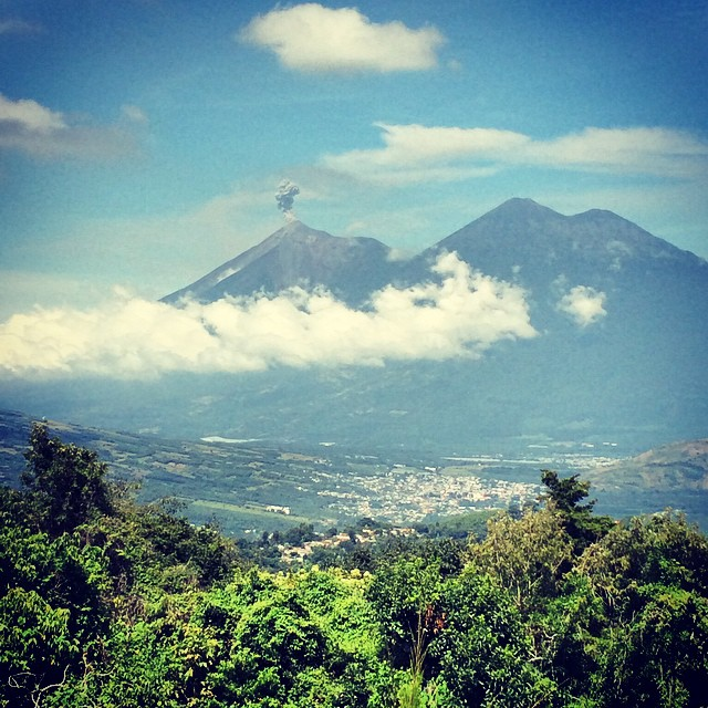 View of Fuego and Acatenango