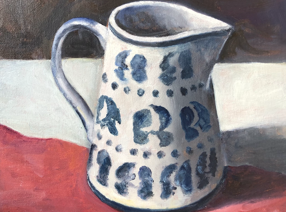 Blue patterned jug