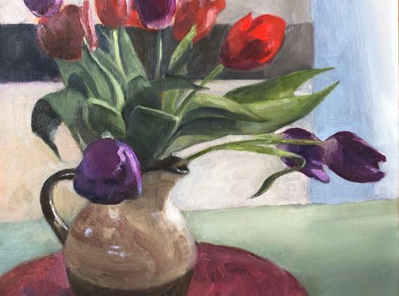 Jug with tulips
