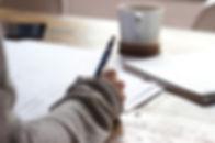A web copywriter planning an article