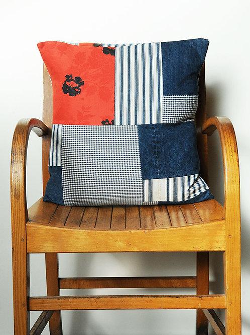 Vintage Ticking & Denim Cushion A