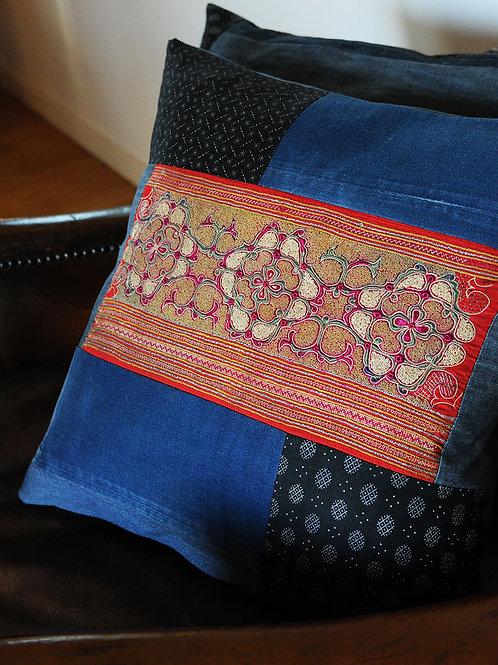 Antique Embroidery & Denim Cushion