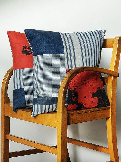 Vintage Ticking & Denim Cushion B