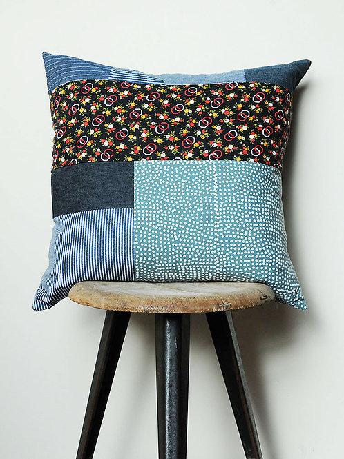 Retro Print & Denim Cushion