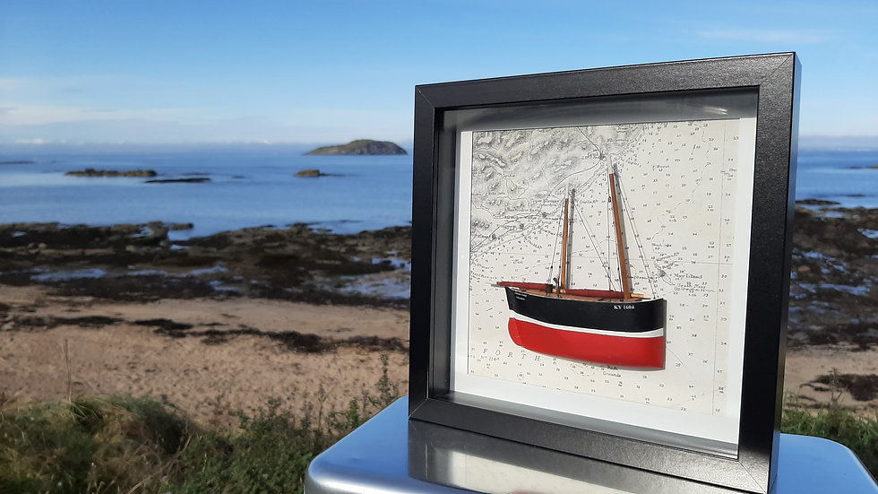 Framed Fifie Sailing Herring Drifter in relief. KY1604 Lifeboat Lodge, Fife.