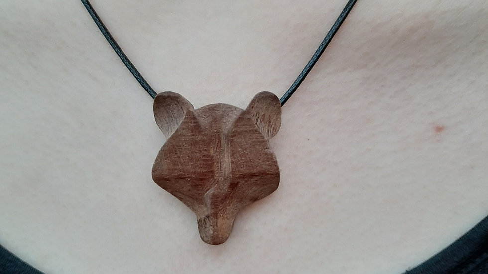 Brown Bear hardwood necklace.