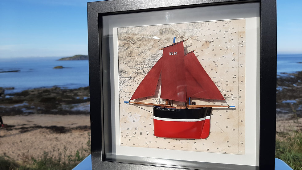 Framed wooden Fifie Herring Sailing Drifter in relief. ML20 True Vine, St Monans