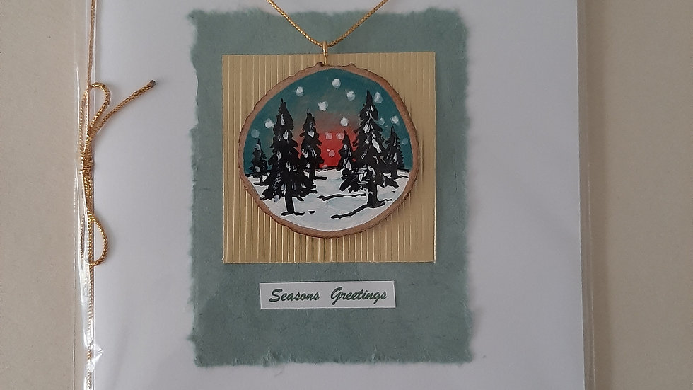 Winter scene card/decoration hand painted on Cherry wood (2)