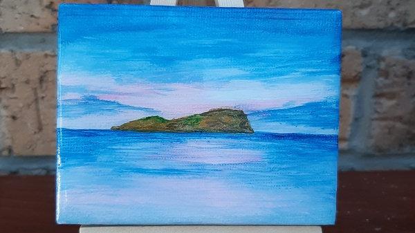 Small painting Fidra, East Lothian
