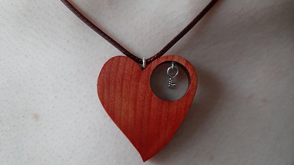 Cherry wood heart necklace, stained red, with key to your heart