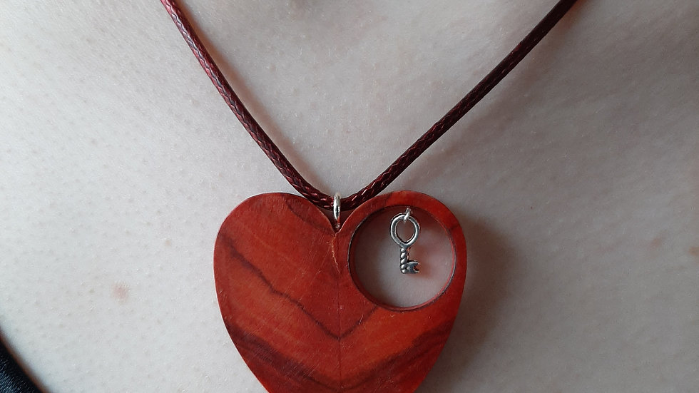 Olive wood heart necklace, stained red with key to your heart.