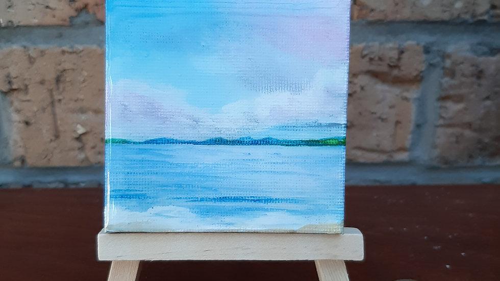 Small painting of Gullane beach pink sky.