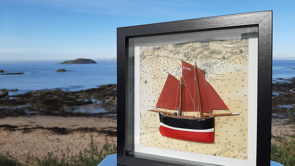 Framed wooden Fifie Fishing Boat, KY4, Ocean Bride. Cellardyke