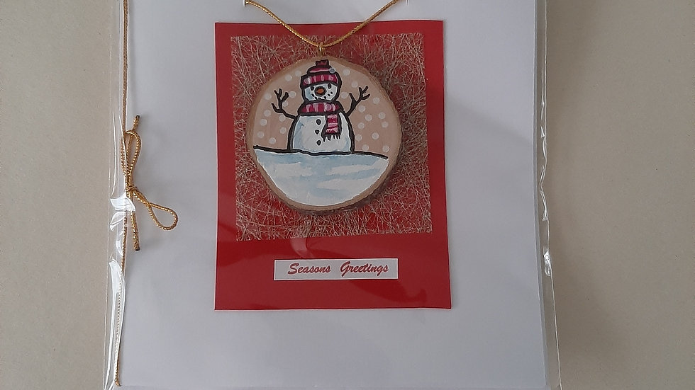 Snowman card/decoration hand painted on Cherry wood