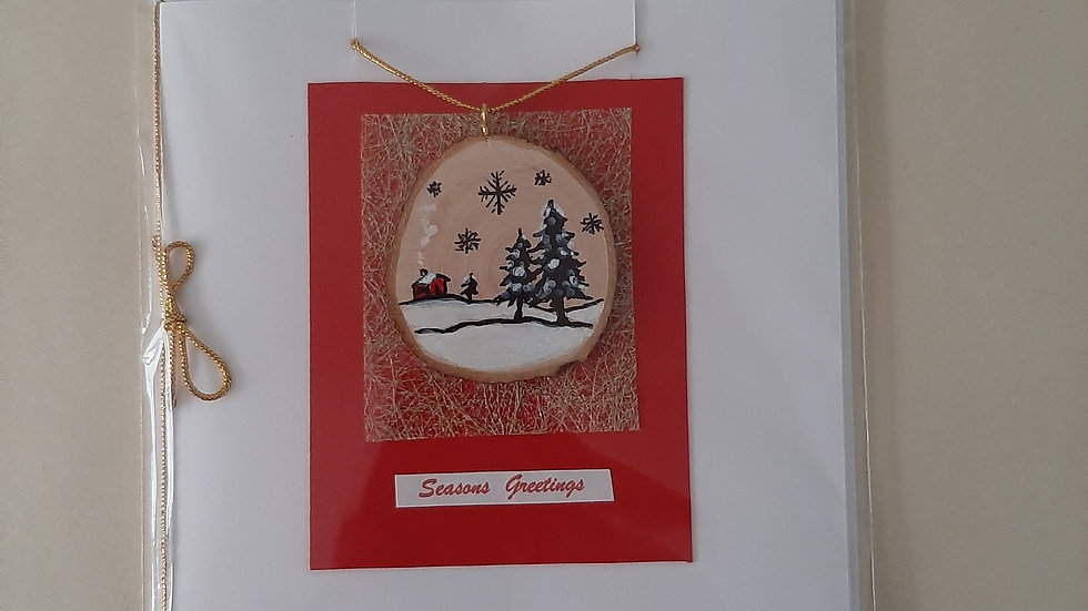 Winter scene card/decoration hand painted on Cherry wood (1)