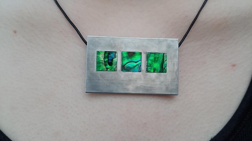 Brushed Aluminium and Paua shell necklace horizontal