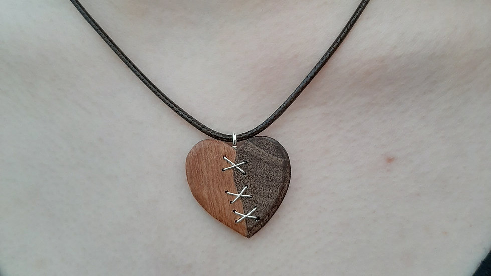 Hardwood and silver heart necklace