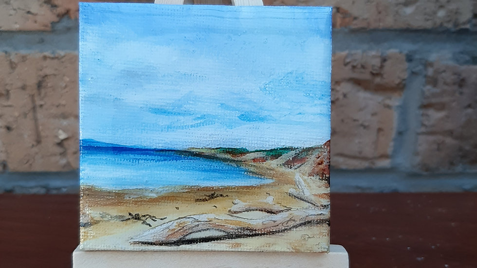 Small painting of Gullene beach, East Lothian