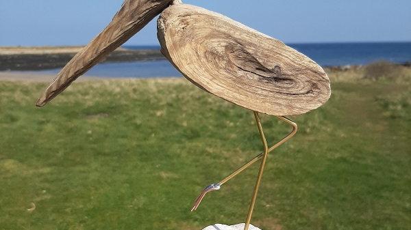 Driftwood Wader bird sculpture No1.