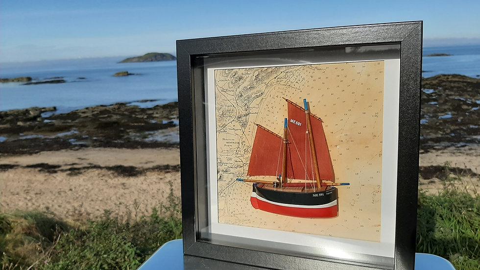 Framed Fifie Sailing Herring Drifter in relief. ME591 Lightning, Ferryden,