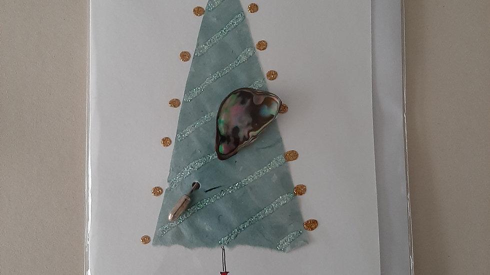 Christmas tree card with Paua shell brooch.