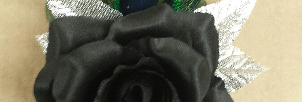Black Formal Peacock Corsage