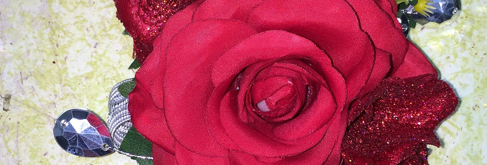 Red Rose Glitz Corsage