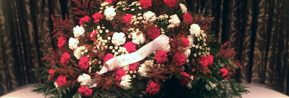 Red and White Delight Casket Spray