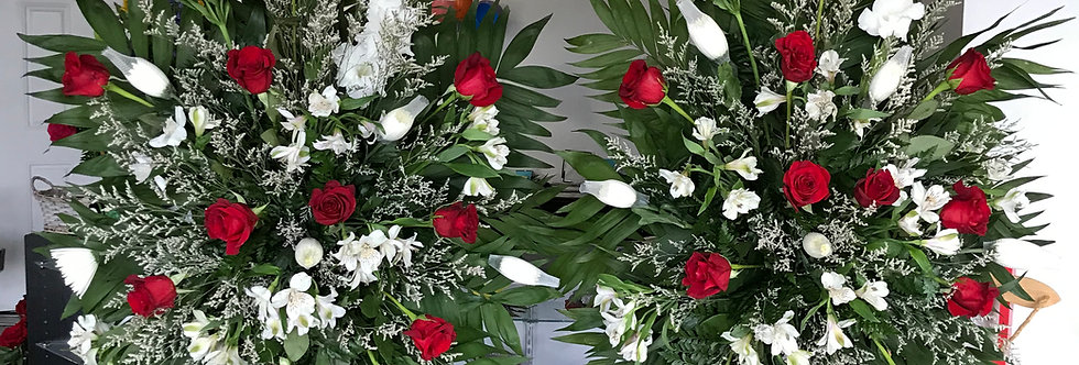 Red and White Palm Casket Spray (1)