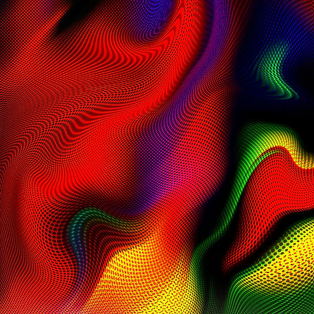 abstract art of red, yellow, green, blue and black with black dots overlaid and undulating together in waves of color