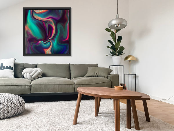 A living room with a large abstract print made by Nancy Levan.