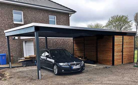 Carport modern anthrazit und Abstellraum