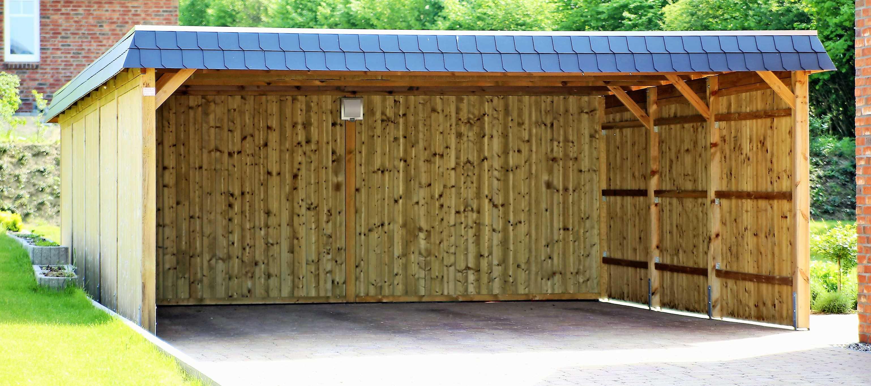 Doppelcarport Selbstaufbau Kiefernholz mit Schieferblende FREESE Holz