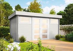 Gartenhaus grau groß mit Tür Holz modern.jpg
