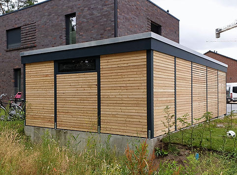 Carport modern Lärche Holz Stahl Rhombus