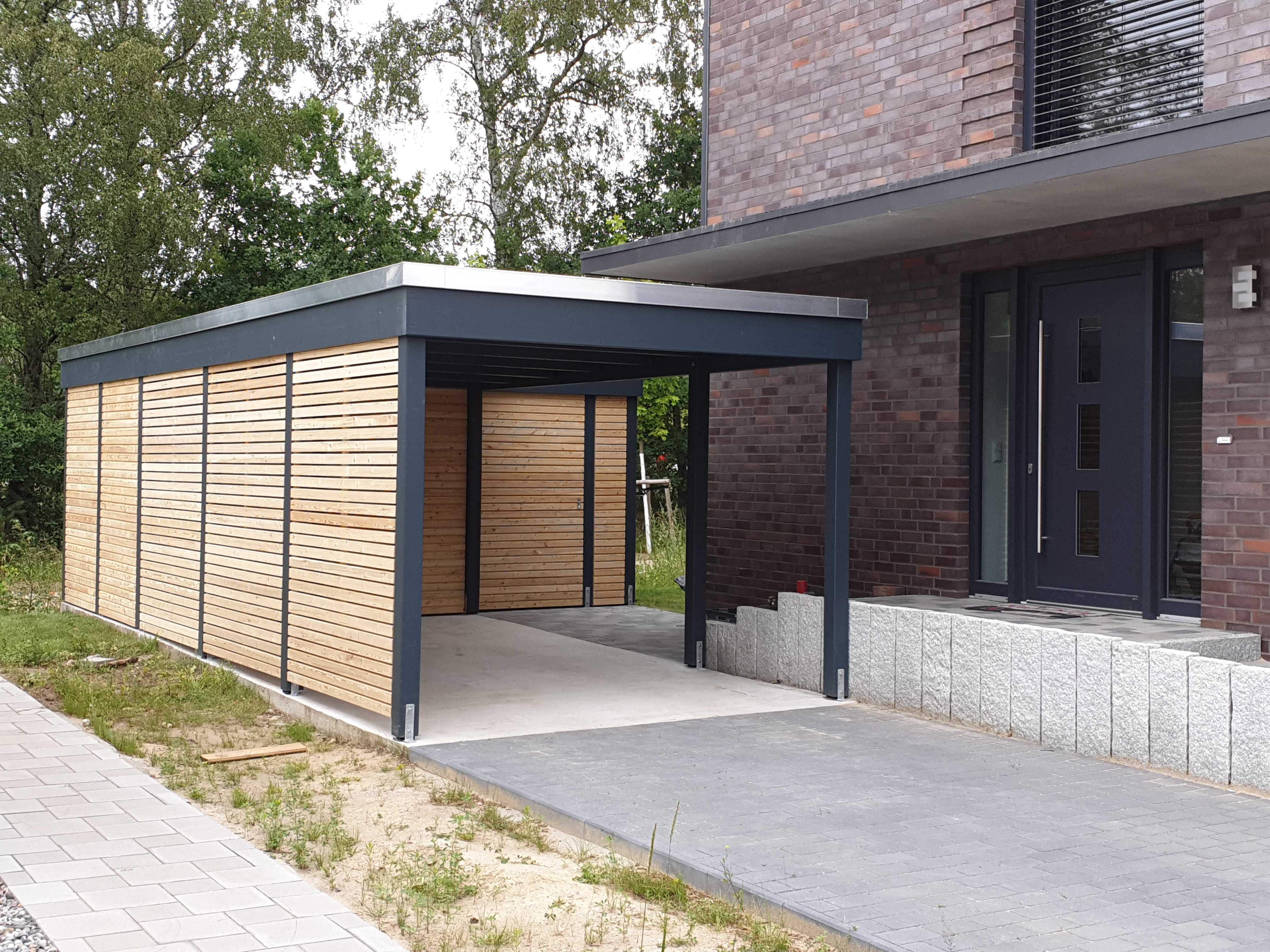 Carport Bausatz modern Lärchencarport zur Selbstmontage