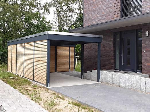 Carport modern Lärche mit Abstellraum KLARE LINIE Kiel