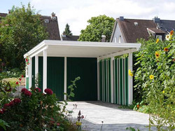 Einzelcarport Flachdach grün weiß