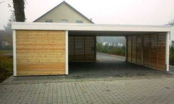 Doppelcarport weiß modern FREESE Holz aus Lärche