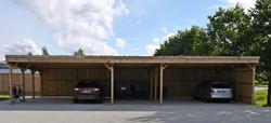 Reihenanlage Flachdach Carport Holzblende