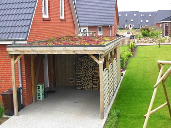 Carport mit Gründach, extensiver Dachbeg