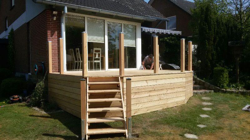 Lärche Terrasse hoch mit Leiter Podest