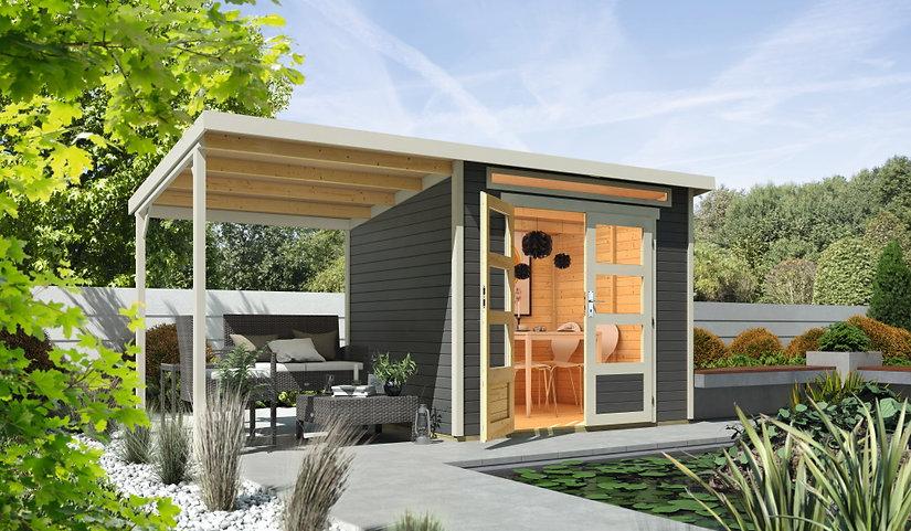 Gartenhütte mit seitlichem Unterstand Ho