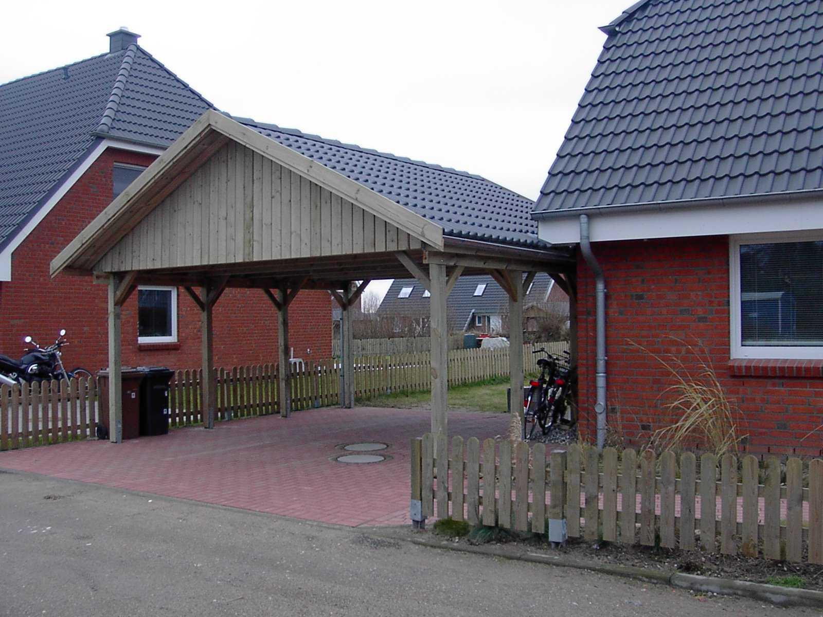 Doppelcarport Satteldach Kiefernholz