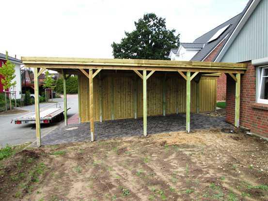 Carport KDI Flachdach mit Massiver Holzb