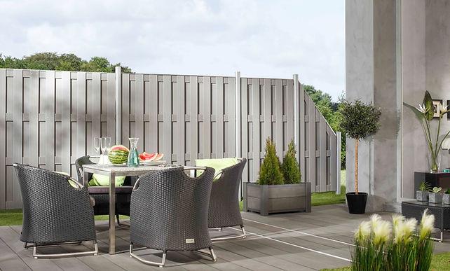 WPC Sichtschutz Zaun grau modern kaufen.